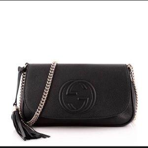 NEW Black Leather Gucci Soho Chain Crossbody Bag